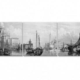 Tablou modular, Orașul alb-negru pe apă cu bărci
