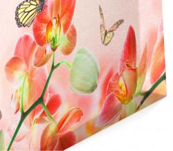 Tablou modular, Orhidee oranje cu fluturi
