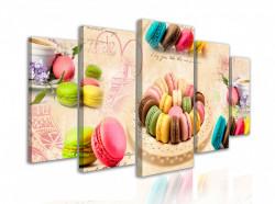 Tablou modular, Prăjituri multicolore pe un fundal bej