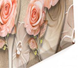 Tablou modular, Trandafiri delicați pe un fundal bej.
