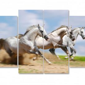 Tablou modular, Trei cai albi.