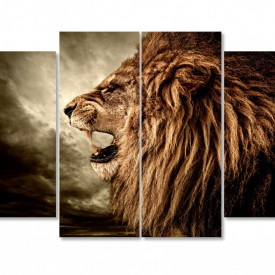 Tablou modular, Un leu pe un fundal întunecat.