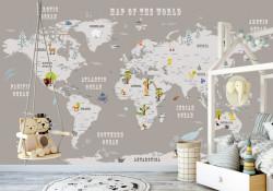 Tapet foto pentru copii, Harta lumii copiilor cu animale