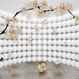 Fototapet 3D, Arbore cu flori pe fundal abstract