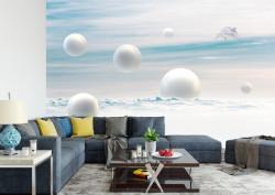 Fototapet 3D, Fantezie cu perle albe ce cad în ocean