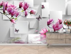 Fototapet 3D, Magnolie roz și fluturi