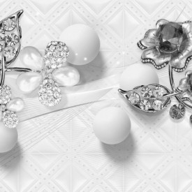 Fototapet 3D, O floare abstractă de pietre pe un fundal cenușiu