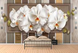 Fototapet 3D, Orhidee delicate pe un fundal din piele