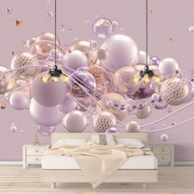 Fototapet 3D, Sfere roz pe un fundal roz
