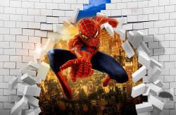 Fototapet 3D, Spiderman pe fundalul unui perete spart