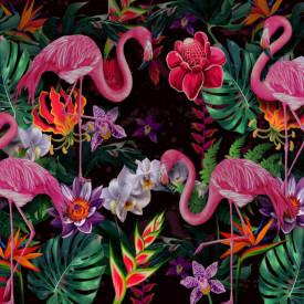 Fototapet, Flamingo roz pe un fundal floral
