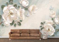 Fototapet, Flori albe pe un fundal pudrat
