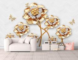 Fototapet, Flori de aur cu fluturi pe un fundal alb