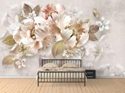 Fototapet, Flori de lux și fluturi