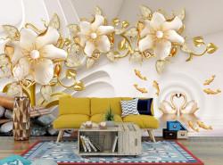 Fototapet, Flori de porțelan cu lebede și pești aurii