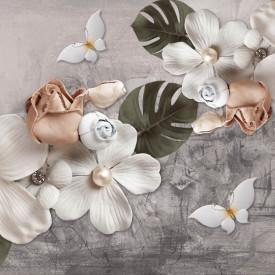 Fototapet, Flori delicate pe un fundal pastel