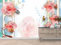 Fototapet, Flori roz strălucitoare pe un fundal delicat