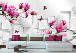 Fototapet, Flori și fluturi roz pe un fundal abstract