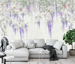 Fototapet, Grădina cu flori și păsări