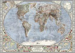 Fototapet, Harta cu drapeluri în culori deschise
