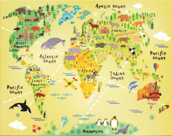Fototapet, Harta lumii pe galben