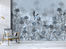 Fototapet, Păsări și o plantă în tonuri de albastru