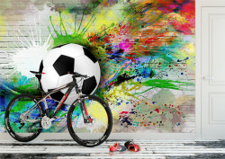 Fototapet Pentru Copii, Minge de fotbal pe perete colorat