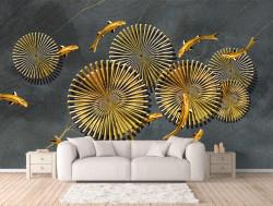 Fototapet, Pești de aur pe un fundal cenușiu