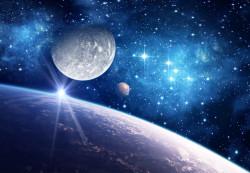Fototapet, Planeta pământ pe fundalul albastru