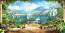 Fototapet, Priveliște frumoasă cu cascade și cer albastru