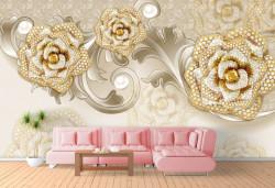 Fototapet, Trandafiri aurii cu pietre pe un fundal bej