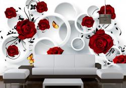 Fototapet, Trandafiri roșii cu fluturași