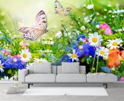 Fototapet, Un câmp cu flori și fluturi