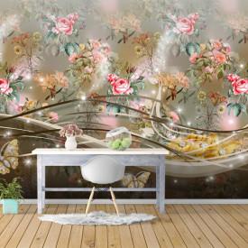 Fototapet, Un perete cu flori