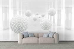 Fototapete 3D, Bile spinoase albe pe un fundal alb de culoar