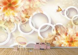 Fototapete 3D, Floare de lotus oranj ,fluturi și cercuri pe un fundal alb
