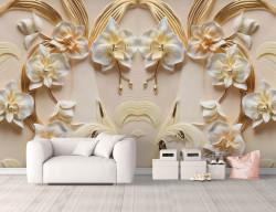 Fototapete 3D, Flori albe cu petale de aur