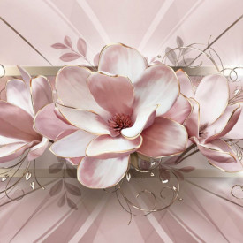 Fototapete 3D, Flori roz pe fundal roz