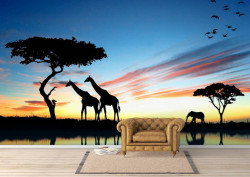 Fototapete, Peisaj cu lumea animalelor
