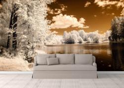 Fototapete, Peisaj de iarnă lângă lac