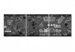Multicanvas, Tabla neagră cu inscripții albe.