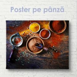 Poster, Condimente parfumate și masă din lemn