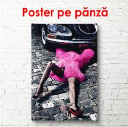 Poster, Fată care repară o mașină