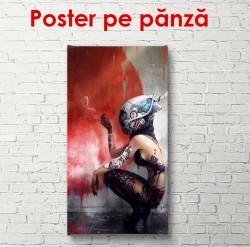 Poster, Portretul unei fete cu o cască pe cap