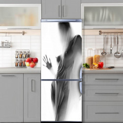 Stickere 3D pentru uși, Femeia în spatele unei draperii, 1 foaie de 80 x 200 cm