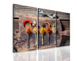 Tablou modular, Condimente frumoase pe scândură de lemn