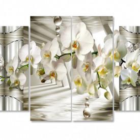 Tablou modular, Orhidee albă pe un fundal 3D.
