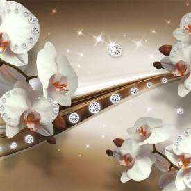 Tablou modular, Orhidee albe pe un fundal maro abstract