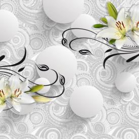 totapet 3D, Sfere cu flori pe un fundal alb