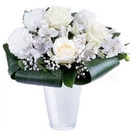 Poze Semn de Afectiune: garoafe, trandafiri si alstroemeria